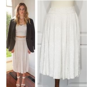 Trelise Cooper White Sequined Cocktail Midi Skirt